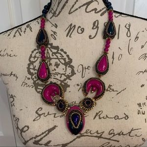 Beaded multi colored boho inspired necklace
